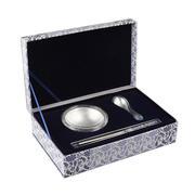 青花瓷千足银100g银碗礼盒套装 纪念收藏品 周年庆奖品