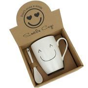 笑脸马克杯+勺子陶瓷杯套装 广告礼品定制 5元内小礼品