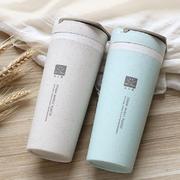 小麦秸秆双层隔热防烫手提便携杯子450ml 促销礼品 房地产活动礼品