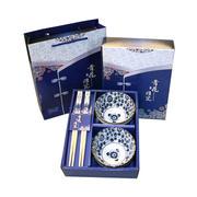 青花瓷两碗两筷套装 实用性的小礼品