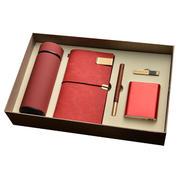 商务笔记本套装 保温杯+旅行本+红木笔+8GU盘+10000毫安移动电源 送客户员工实用礼品