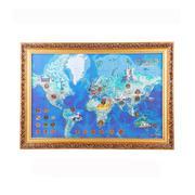 有钱途 世界财富地图—30枚世界多国硬币相框 外币壁挂送客户送领导
