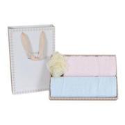 【竹印象】四叶草浴花三件套 糖果色竹纤维毛巾礼盒(毛巾*2+浴球)