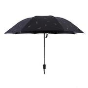 创意折叠防晒黑胶三折伞 烫金羽毛黑胶遮阳伞 实用型礼品