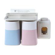 创意吸盘小麦纤维牙刷杯架 自动挤牙膏器漱口杯套装 感恩节公司给员工送什么礼物