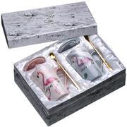 礼盒装简约火烈鸟陶瓷杯 带盖带勺大理石纹马克杯 公司福利礼品