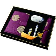 蜀锦中国风特色笔记本刺绣+鼠标垫+鼠标+8G U盘+真瓷笔商务五件套 送老外丝绸工艺品