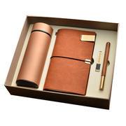 保温杯+红木笔+旅行本+8G黄铜U盘四件套礼盒装 年会礼品200