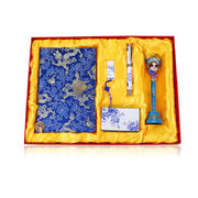 南京云锦陶瓷笔+人物笔+16GU盘+名片盒+笔记本五件套 中国特色礼品送老外